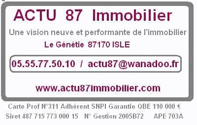 Actu 87 immobilier agence immobili re isle for Agence immobiliere 87