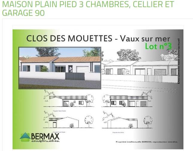 """Modèle de maison  """"Modèle de maison plain pied 4 pièces + garage"""" à partir de 4 pièces Charente par MAISONS BERMAX"""