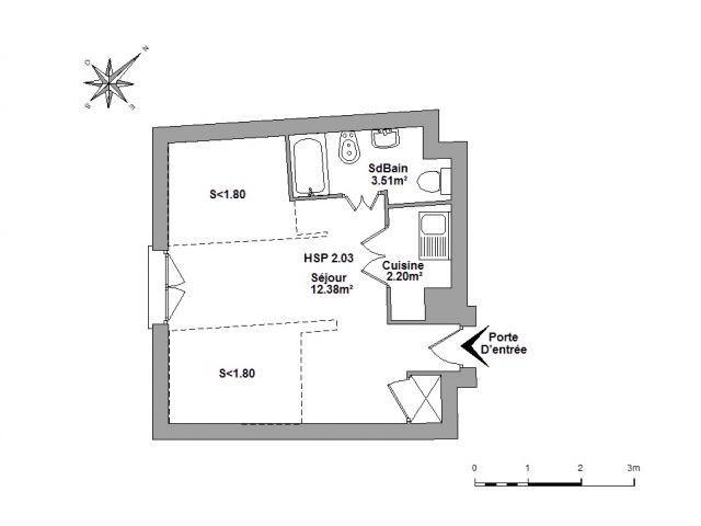 Location Studio 19,35m² Nice