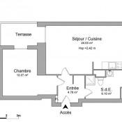 Châtenay Malabry, Appartement 2 pièces, 47,18 m2