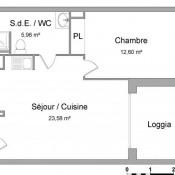 Saint Martin de Seignanx, Appartement 2 pièces, 42,14 m2