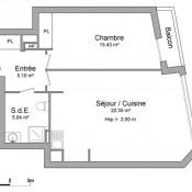 Asnières sur Seine, Apartment 2 rooms, 47.92 m2