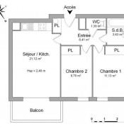 Cognac, Appartement 3 pièces, 53,44 m2