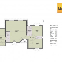 Maison  3 pièces + Terrain  1172 m² Vaudreuille