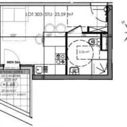 Studio de 24 m² centre ville en dernier étage
