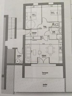 Andernos, dans un environnement calme et arboré, T3 neuf en frais réduits de 64m² environ, avec entrée,  ...