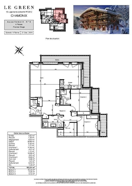 Deluxe sale apartment Chamonix mont blanc 1045000€ - Picture 4