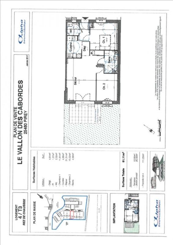 Sale apartment Pirey 167400€ - Picture 2