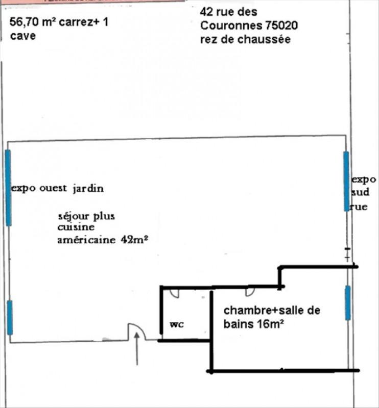 Vente appartement Paris 20ème 325000€ - Photo 2