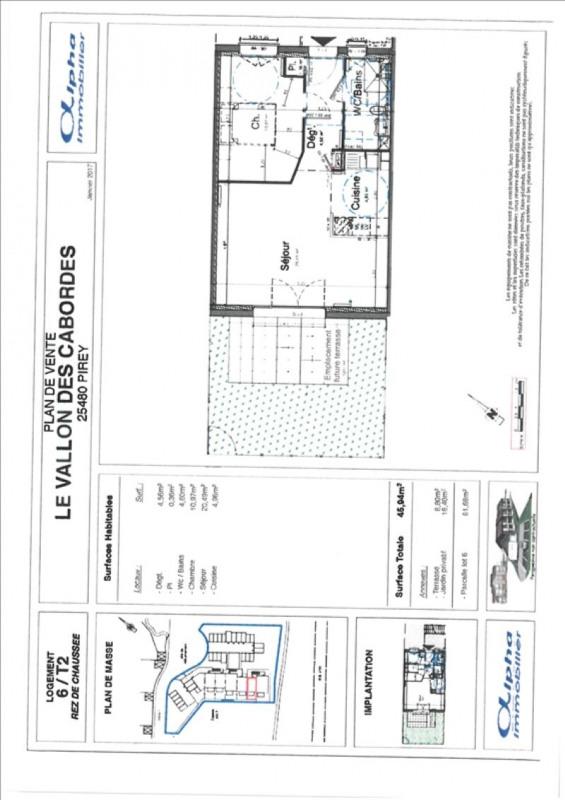 Sale apartment Pirey 126500€ - Picture 2