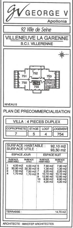 Vente appartement Villeneuve-la-garenne 342990€ - Photo 6