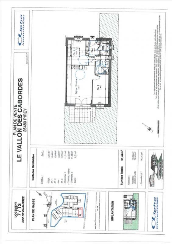 Sale apartment Pirey 164400€ - Picture 2