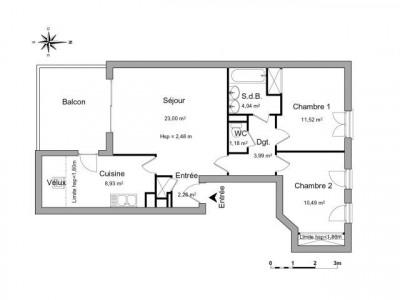 Meyzieu 3 pièces 65.43 m²