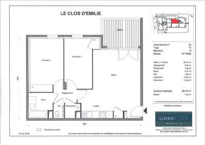 T3 1er étage 64m² FERNEY