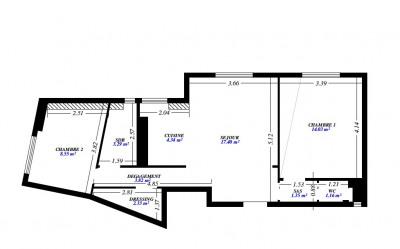 Appartement 3 pièces - en dernier étage