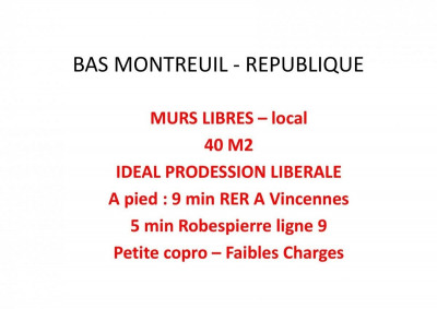 Vente Local commercial Montreuil