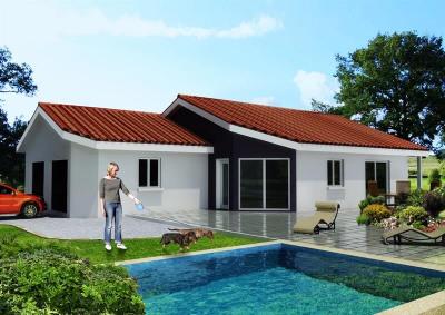 """Modèle de maison  """"Maison 90 m² à montagnat"""" à partir de 5 pièces Ain par ETUDES CONCEPTS REALISATIONS"""