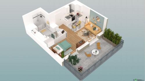 New home sale - Programme - Beauvais - Le Franc Marché appartements neufs Beauvais centre-ville hyper centre BBC RT2012 programme PINEL LK PROMOTION Louis Kotarski Oise E403 - Photo