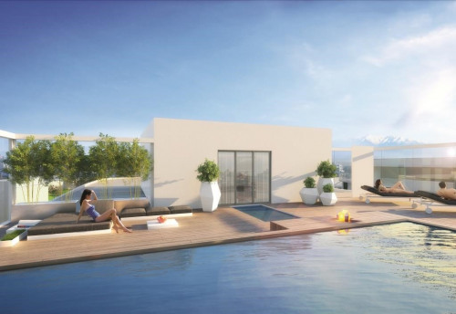 新房出售 - Programme - Canet Plage - Bleu d'Ancre- Vue piscine sur les toits- Canet Plage - Photo