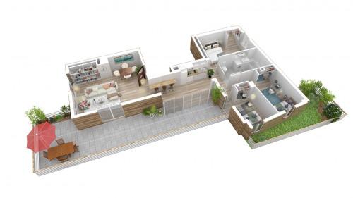 Produit d'investissement - Appartement 5 pièces - 94,31 m2 - Bondy - Appartement Grand T4 avec terrasse L599-401 - Photo