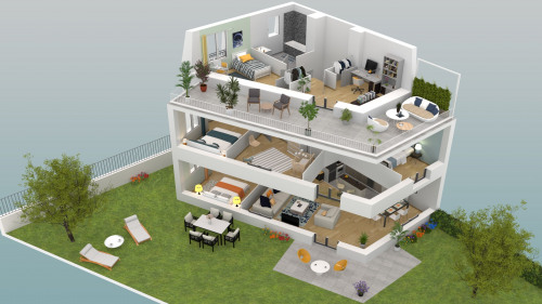 Lançamento - Programme - Le Chesnay - Plan 3D Maison 2 R+2 - Photo