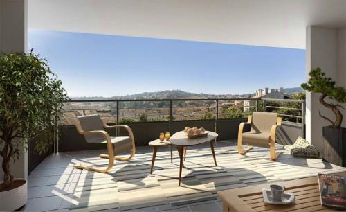 New home sale - Programme - Manosque - Vue terrasse bât C - Photo