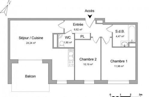 Location - Appartement 3 pièces - 59,48 m2 - Haguenau - Photo