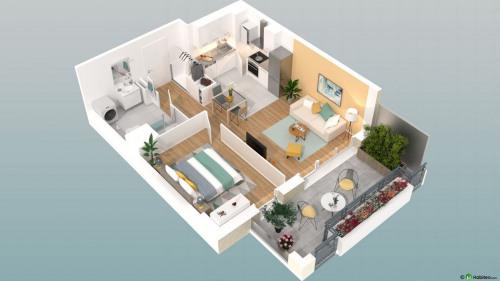 New home sale - Programme - Beauvais - Le Franc Marché appartements neufs Beauvais centre-ville hyper centre BBC RT2012 programme PINEL LK PROMOTION Louis Kotarski Oise D108 - Photo