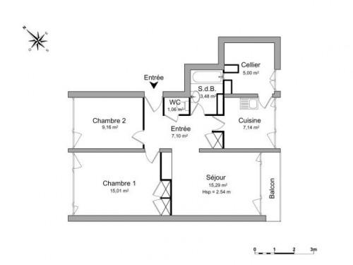 Location - Appartement 3 pièces - 63,24 m2 - Mont Saint Aignan - Photo