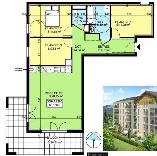 Vente appartement Saint-pierre-en-faucigny 306414€ - Photo 3