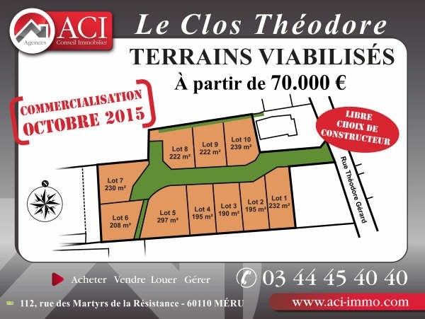 Vente terrain Meru 70 000€ - Photo 1