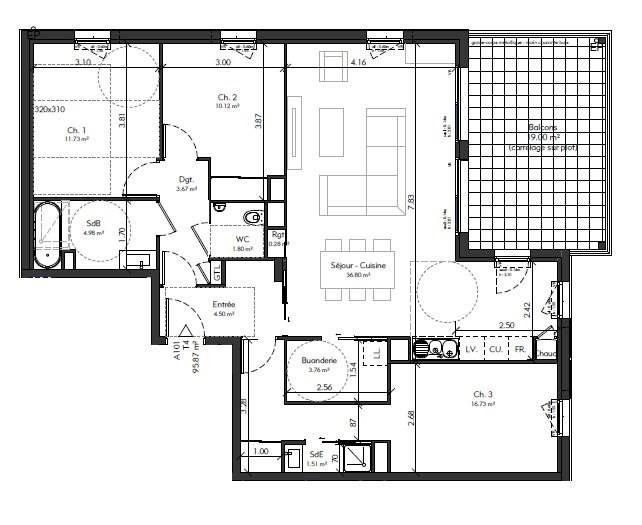 Sale apartment Genas 401014€ - Picture 4