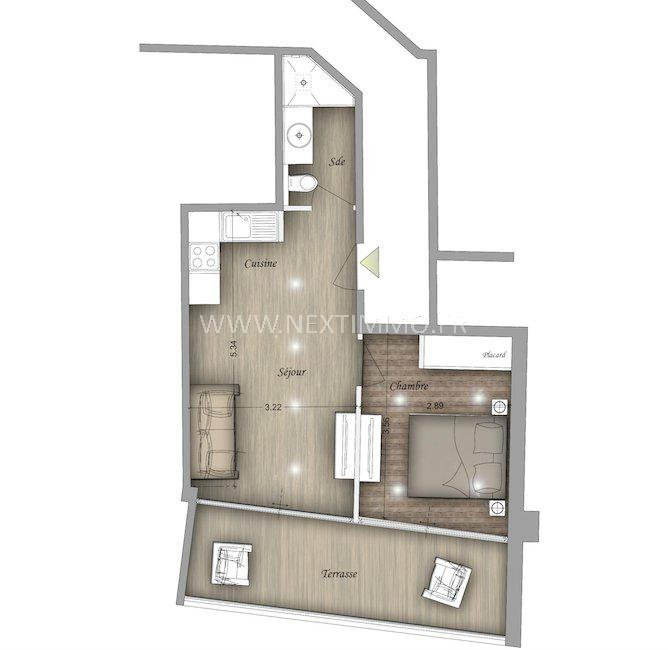 Vente appartement Beausoleil 267000€ - Photo 2