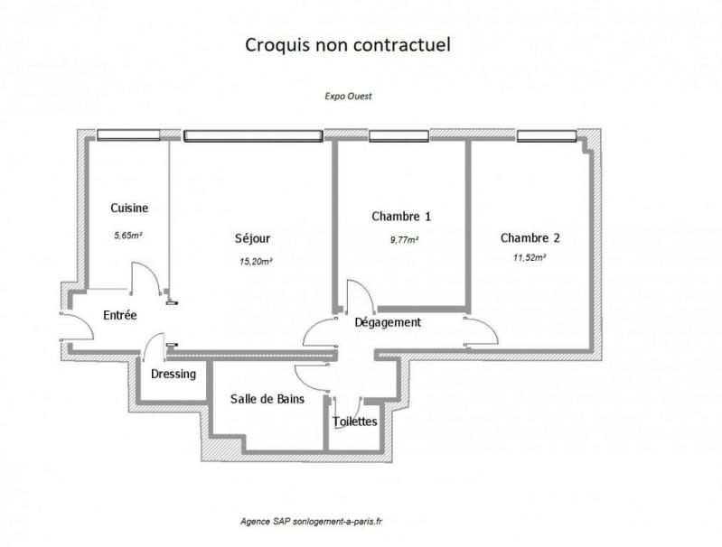 Sale apartment Paris 17ème 449000€ - Picture 2