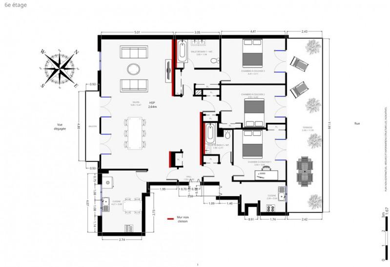 Vente de prestige appartement Paris 18ème 1732000€ - Photo 13