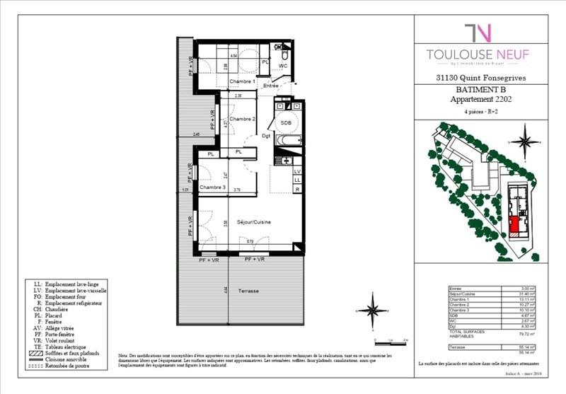 Vente appartement Quint-fonsegrive 302000€ - Photo 2