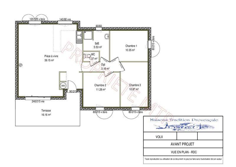 Maison  4 pièces + Terrain 302 m² Volx (04130) par MAISONS TRADITION PROVENÇALE