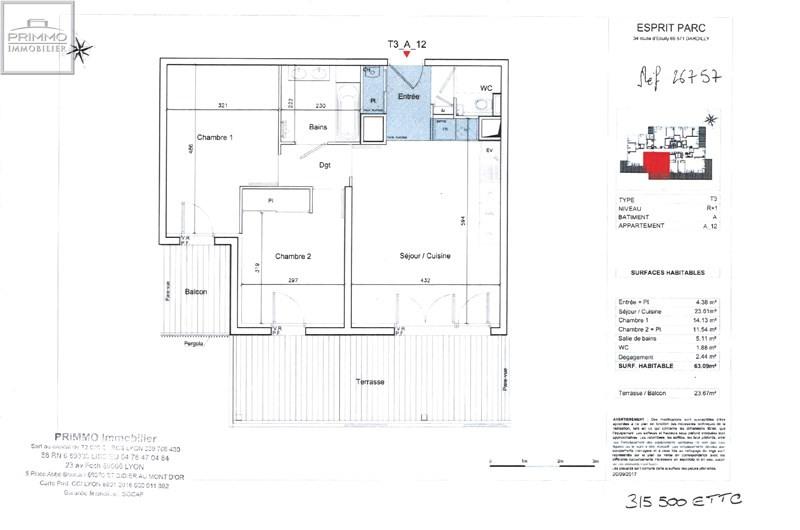Vente appartement Dardilly 315500€ - Photo 3