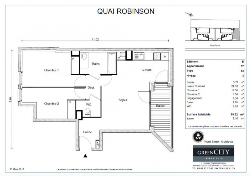 vente appartement 3 pi ce s asni res sur seine 59 m avec 2 chambres 326 035 euros les. Black Bedroom Furniture Sets. Home Design Ideas