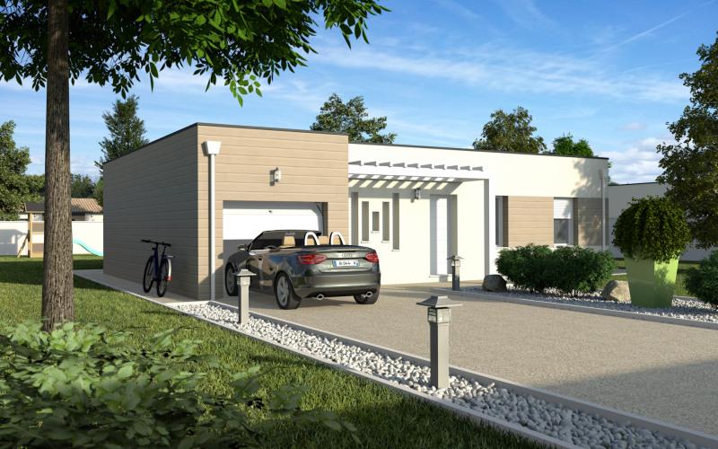 """Modèle de maison  """"Maison toit plat avec garage 90m²"""" à partir de 4 pièces Gironde par MAISONS ECG"""