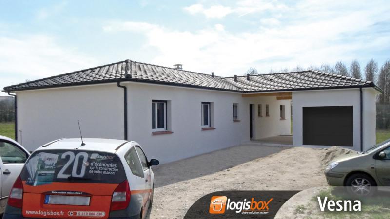 """Modèle de maison  """"Maison 4 Chambres + Abri Voiture et Garage + Terrasse Couverte"""" à partir de 5 pièces Lot-et-Garonne par LOGISBOX"""