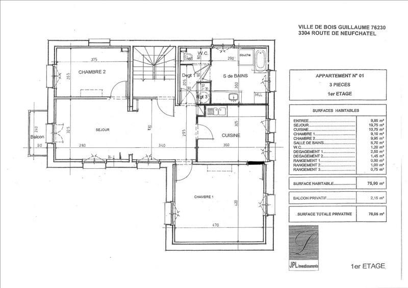 Location appartement 3 pièces BoisGuillaume  appartement F3T33