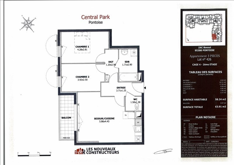 Rental apartment Pontoise 950€ CC - Picture 4