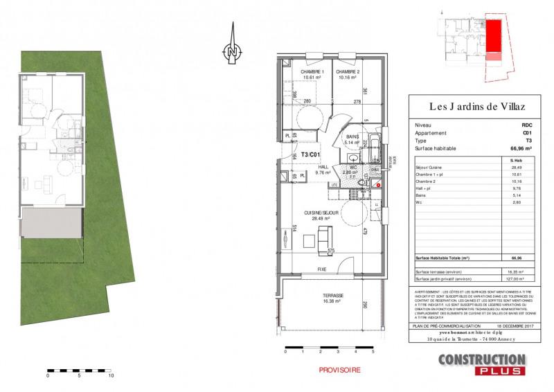 Sale apartment Villaz 283000€ - Picture 3