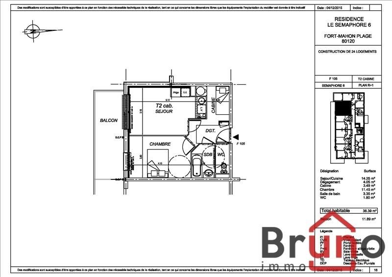 Verkoop  appartement Fort mahon plage 164000€ - Foto 1