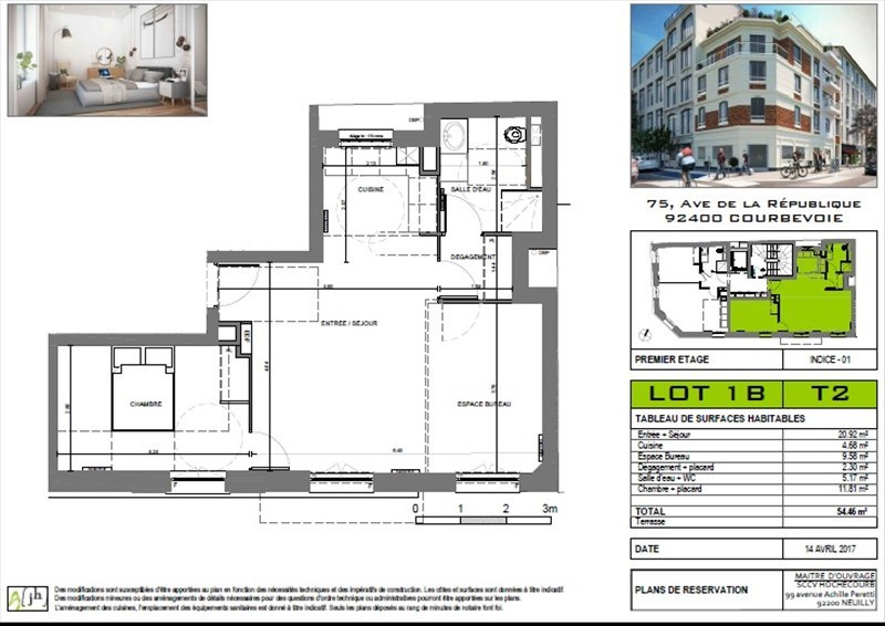 Sale apartment Courbevoie 410000€ - Picture 3