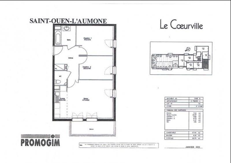 Rental apartment St ouen l aumone 949€ CC - Picture 10