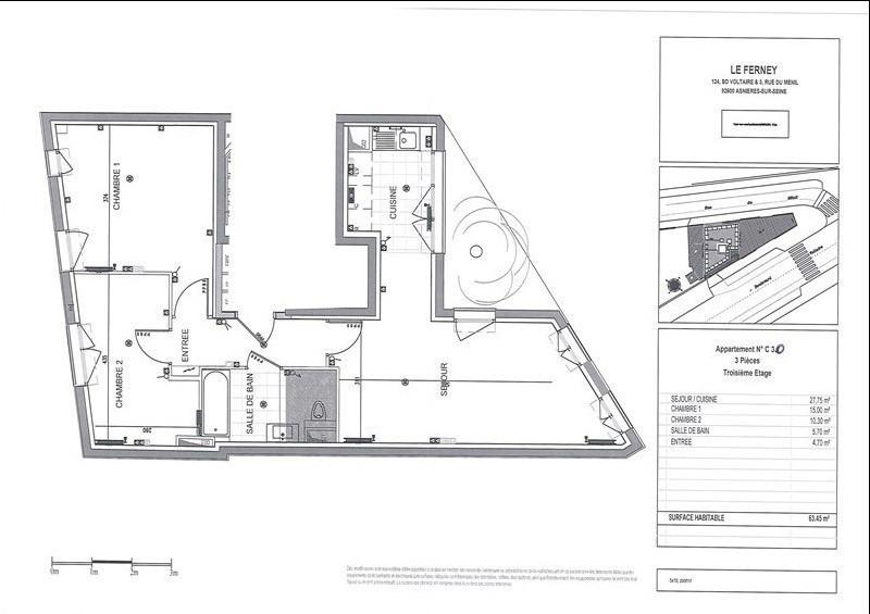 Rental apartment Asnieres sur seine 1495€ CC - Picture 1