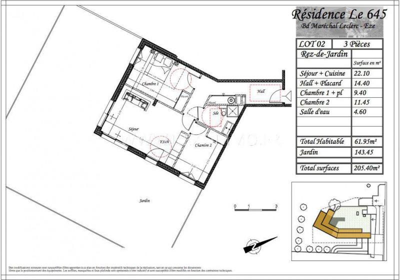 Vendita appartamento Èze 427455€ - Fotografia 3
