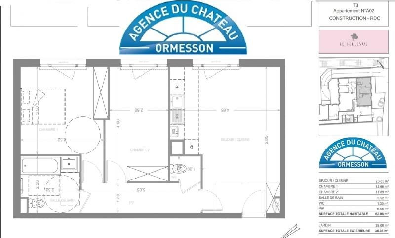 Vente de prestige appartement Ormesson sur marne 290 000€ - Photo 2
